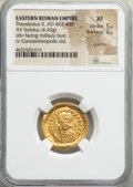 Ancients:Roman Imperial, Ancients: Theodosius II, Eastern Roman Empire (AD 402-450). AVsolidus (22mm, 4.43 gm, 6h). NGC XF 5/5 - 2/5, graffito....