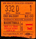 Basketball Collectibles:Others, 1964 Knicks vs. Lakers Ticket Stub - Willis Reed NBA Debut....