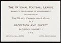 Football Collectibles:Tickets, 1965 NFL Championship Game Reception and Buffet Invitation....