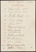 Autographs:Letters, 1942 Boston Braves Team Signed Sheet with Lombardi, Stengel, &Waner (24 Signatures)....