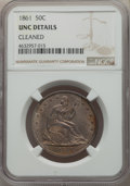 Seated Half Dollars, 1861 50C -- Cleaned -- NGC Details. Unc. NGC Census: (6/210). PCGS Population: (7/262). CDN: $450 Whsle. Bid for problem-fr...