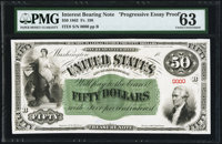 Fr. 198 $50 18(63) Interest Bearing Note Progressive Essay Face Proof Hessler ITE9 PMG Choice Uncirculated 63