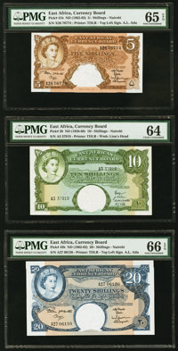 East Africa East African Currency Board 10 Shillings ND (1958-60) Pick 38; 5; 20 Shillings ND (1962-63) Pick 41b; 43b