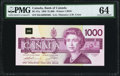 Canadian Currency, BC-61a $1000 1988 PMG Choice Uncirculated 64.. ...
