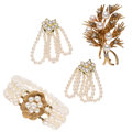 Estate Jewelry:Lots, Diamond, Cultured Pearl, Gold Jewelry. ... (Total: 3 Items)
