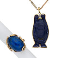 Estate Jewelry:Lots, Lapis Lazuli, Diamond, Gold, Gold-Filled Jewelry. ... (Total: 2 Items)