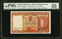 Southern Rhodesia Southern Rhodesia Currency Board 10 Shillings 1.9.1950 Pick 9f PMG About Uncirculated 55