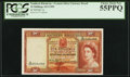 World Currency, Southern Rhodesia Central Africa Currency Board 10 Shillings 10.9.1955 Pick 16 PCGS Choice About New 55PPQ.. ...