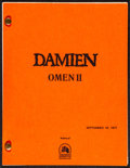 """Movie Posters:Horror, Damien: Omen II (20th Century Fox, 1978). Very Fine-. Final Shooting Script (108 Pages, 8.5"""" X 11""""). Horror.. ..."""
