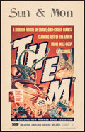 "Movie Posters:Science Fiction, Them! (Warner Brothers, 1954). Folded, Fine/Very Fine. Window Card(14"" X 22""). Science Fiction.. ..."