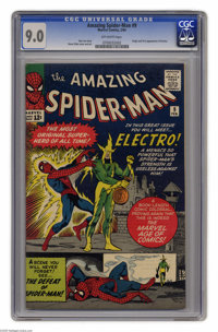 The Amazing Spider-Man #9 (Marvel, 1964) CGC VF/NM 9.0 Off-white pages. This issue features the origin and first appeara...