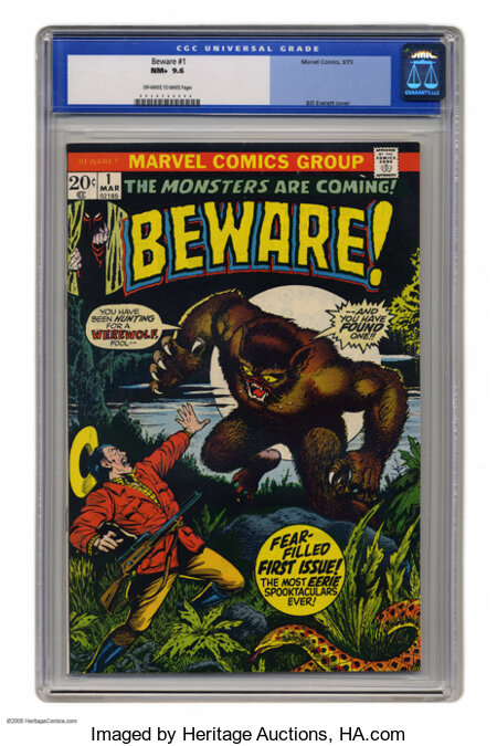 Beware #1 (Marvel, 1973) CGC NM+ 9.6 Off-white to white pages. Bill Everett cover. This is currently the highest grade assig...