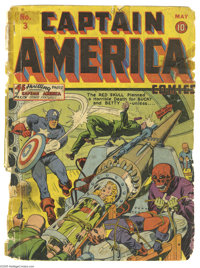 Captain America Comics #3 Cover Only (Timely, 1941). Note that these are the front and back covers only, the rest of the...