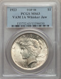 Peace Dollars, 1923 $1 Whisker Jaw, VAM-1A, MS63 PCGS. A Top 50 Variety. PCGS Population: (57/98). MS63....