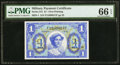 Military Payment Certificates:Series 541, Series 541 $1 PMG Gem Uncirculated 66 EPQ.. ...