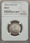 Coins of Hawaii , 1883 25C Hawaii Quarter MS63 NGC. NGC Census: (212/522). PCGSPopulation: (351/726). CDN: $325 Whsle. Bid for problem-free ...