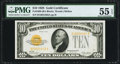 Small Size:Gold Certificates, Fr. 2400 $10 1928 Gold Certificate. B-A Block PMG About Uncirculated 55 EPQ.. ...