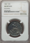 Seated Half Dollars, 1843 50C -- Cleaned -- NGC Details. AU. NGC Census: (14/139). PCGS Population: (38/178). CDN: $250 Whsle. Bid for problem-f...