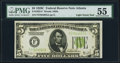 Fr. 1953-F $5 1928C Light Green Seal Federal Reserve Note. PMG About Uncirculated 55