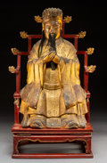 Carvings, A Chinese Lacquered and Gilt Plaster Taoist Figure, Qing Dynasty. 24 x 14 x 10-1/2 inches (61.0 x 35.6 x 26.7 cm) (overall)... (Total: 2 Items)