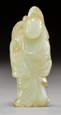A Chinese White Jade Immortal and Bird Carving, Ming Dynasty 2-1/2 x 1 inches (6