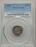1882 3CN VF20 PCGS. PCGS Population: (18/261). NGC Census: (6/121). CDN: $165 Whsle. Bid for problem-free NGC/PCGS VF20...