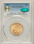 Liberty Half Eagles, 1881 $5 MS64+ PCGS Gold Shield. CAC. PCGS Population: (443/24). NGC Census: (782/84). MS64. Mintage 5,708,802....