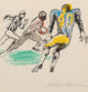 LeRoy Neiman (American, 1921-2012) Open Runner, 1972 Etching with hand-coloring on paper 8-1/2 x 8-1/4 inches (21.6 x...
