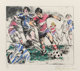 LeRoy Neiman (American, 1921-2012) Soccer, 1980 Etching with hand-coloring on paper 12-3/4 x 14-3/4 inches (32.4 x 37...