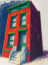 Kit Sailer (20th century) Red Brick House, 1986 Lithograph in colors on BFK Rives paper 30 x 22-1