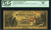 Sacramento, CA - $5 1872 Fr. 1138 The National Gold Bank of D O Mills & Co. Ch. # 2014 Serial Number 1