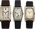 Timepieces:Wristwatch, Three Art Deco Gruen Wristwatches, One 18K White Gold, Two 14K White Gold Filled, Manual Wind, Circa 1925-1928. ... (Total: 3 Items)