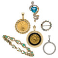 Estate Jewelry:Lots, Diamond, Multi-Stone, Gold Coin, Gold Jewelry. ... (Total: 3 Items)
