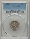 1882 3CN MS61 PCGS. PCGS Population: (1/100). NGC Census: (5/46). CDN: $350 Whsle. Bid for problem-free NGC/PCGS MS61. M...