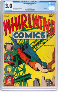 Whirlwind Comics #3 (Nita Publication, 1940) CGC GD/VG 3.0 Off-white pages
