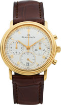 Timepieces:Wristwatch, Blancpain, Very Fine Villeret Flyback Chronograph, 18K Yellow Gold, Automatic, Ref. 1185-1418-55, Circa 1990s. ...