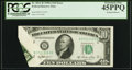 Error Notes:Foldovers, Fr. 2011-B $10 1950A Federal Reserve Note. PCGS Extremely Fine45PPQ.. ...