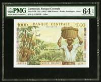 Cameroon Banque Centrale 1000 Francs ND (1962) Pick 12b PMG Choice Uncirculated 64 EPQ