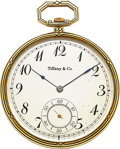 Timepieces:Pocket (post 1900), Tiffany & Co., Touchon Platinum, Gold & Enamel Watch, circa 1920. ...