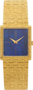 Timepieces:Wristwatch, Piaget 18k Gold Wristwatch With Lapis Lazuli & Tiger's Eye Dials. ...