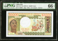 World Currency, Cameroon Republique Unie Du Cameroun 10,000 Francs ND (1978-81) Pick 18b PMG Gem Uncirculated 66 EPQ.. ...