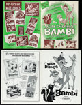 "Movie Posters:Animation, Bambi & Other Lot (Buena Vista, R-1966/R-1975). Very Fine-. Uncut Pressbooks (3) (Multiple Pages, 10.5"" X 13.25,"" 11"" X 15,""... (Total: 3 Items)"