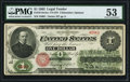Fr. 16 $1 1862 Legal Tender PMG About Uncirculated 53