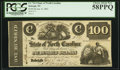 Obsoletes By State:North Carolina, Raleigh, NC- State of North Carolina $100 Jan. 8, 1862 Cr. 74-2 PCGS Choice About New 58PPQ.. ...