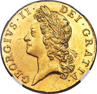 Great Britain: George II gold 5 Guineas 1741/38 MS64 ★ NGC