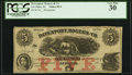 Obsoletes By State:Iowa, Le Claire, IA- Davenport, Rogers & Co. $5 18__ Remainder Oakes88-4/87-4 PCGS Very Fine 30.. ...