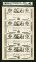 PC-1eP Toronto Provincial Debenture $20 (£5) 185_ Face Proof Uncut Sheet of Four Examples PMG Choice Uncircul