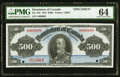 Canadian Currency, DC-28S $500 1925 Specimen PMG Choice Uncirculated 64.. ...