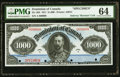 Canadian Currency, DC-20S $1000 1911 Specimen PMG Choice Uncirculated 64.. ...