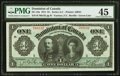 Canadian Currency, DC-18a $1 1911 PMG Choice Extremely Fine 45.. ...